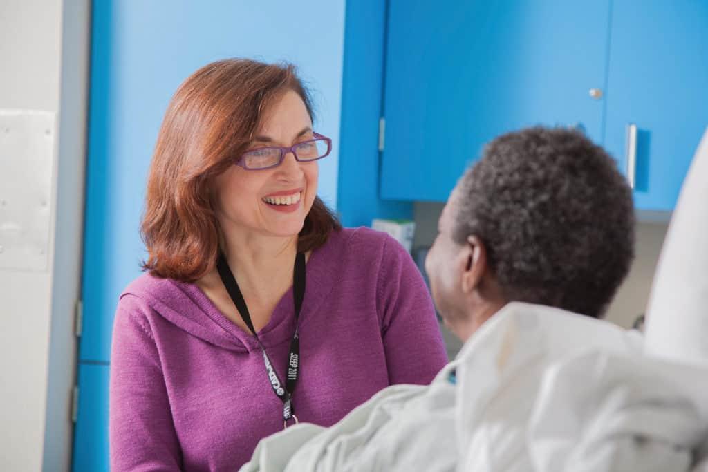 sleep center nurse with patient