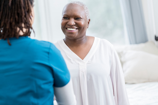 african american patient with tech