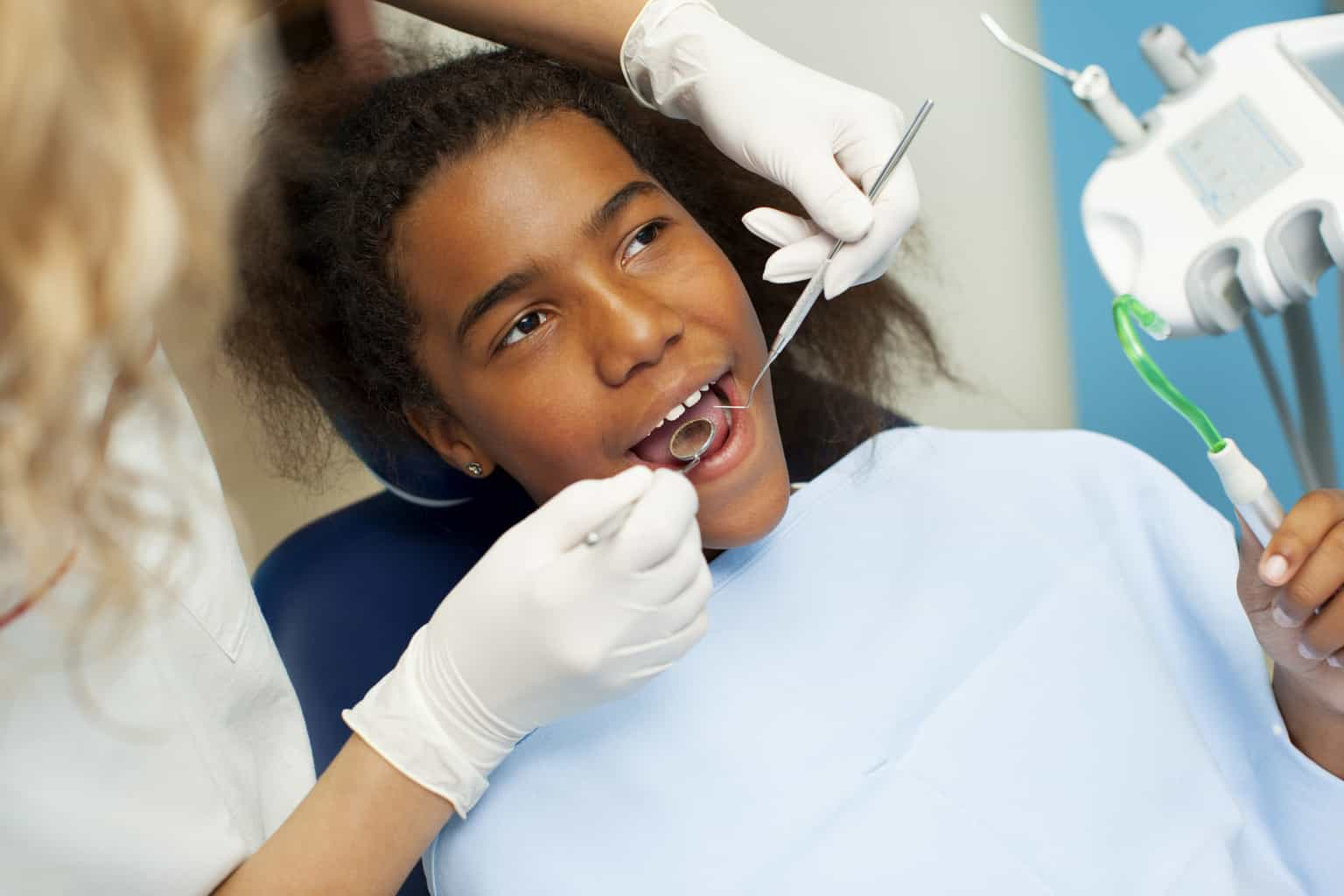young african american boy dental exam
