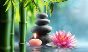 holistic candle stones water lily