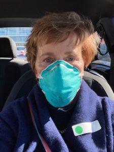 Anni wearing a mask