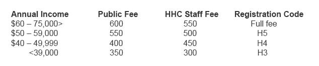 mbsr fee scale