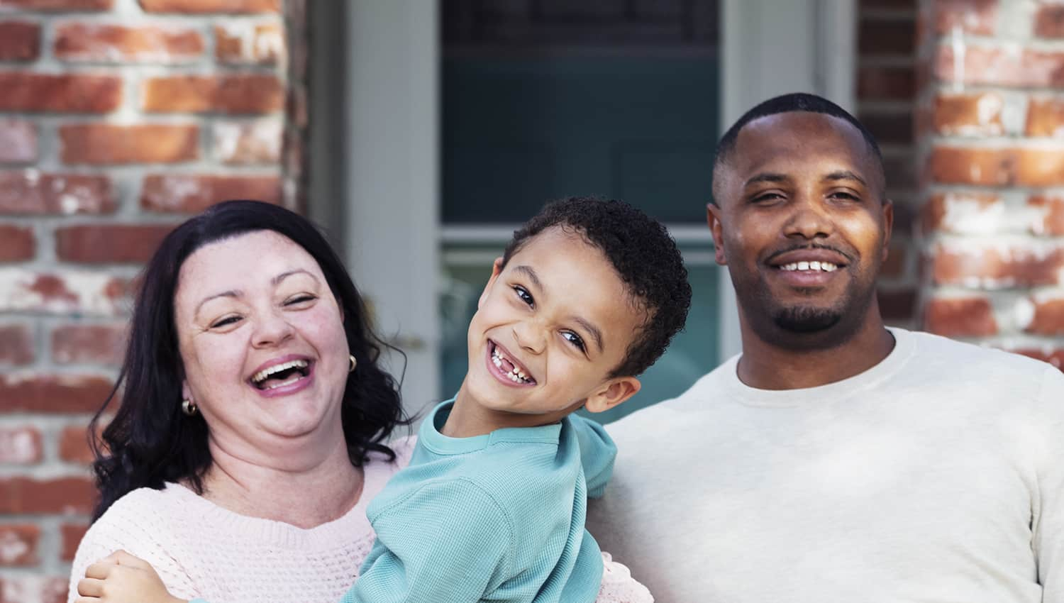 hero image only interracial couple with son